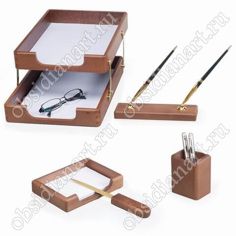 Канцелярский набор для рабочего стола руководителя, дерево, арт. 1236395