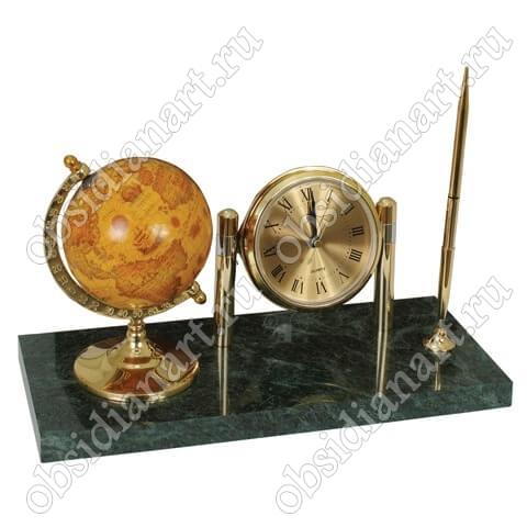 Часы на подставке из мрамора с глобусом и ручкой, арт. 1231199