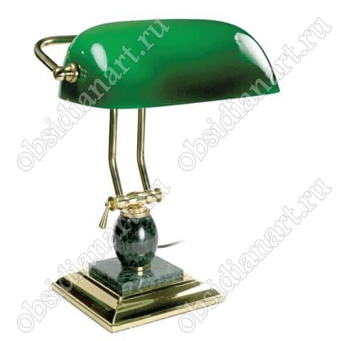Настольная лампа зеленого мрамора с золотистой отделкой, арт. 1231488
